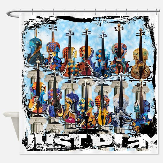 Colorful Violin Music Shower Curtain By Juleez