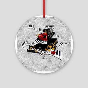 Piano Music Notes Art Print Round Ornament