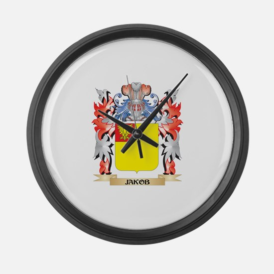 Jakob Coat of Arms - Family Crest Large Wall Clock