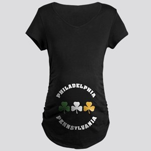 Philly Irish Shamrocks Maternity Dark T-Shirt