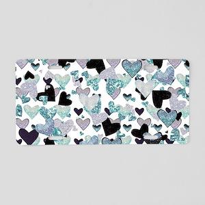 Sparkle Hearts Aqua Aluminum License Plate