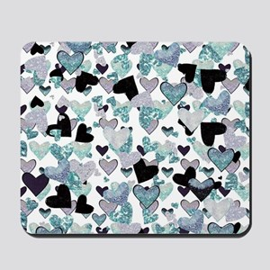 Sparkle Hearts Aqua Mousepad