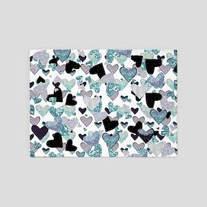 Sparkle Hearts Aqua 5'x7'Area Rug