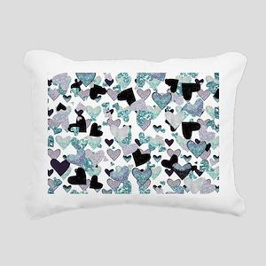 Sparkle Hearts Aqua Rectangular Canvas Pillow