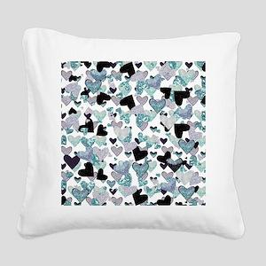 Sparkle Hearts Aqua Square Canvas Pillow