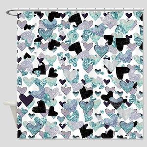 Sparkle Hearts Aqua Shower Curtain