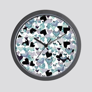 Sparkle Hearts Aqua Wall Clock