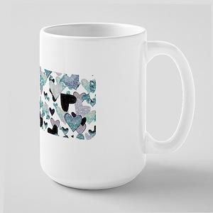 Sparkle Hearts Aqua Mugs
