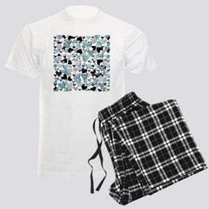 Teal Glitter Hearts Men's Light Pajamas