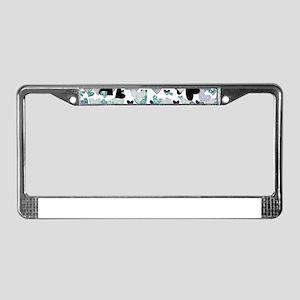 Teal Glitter Hearts License Plate Frame
