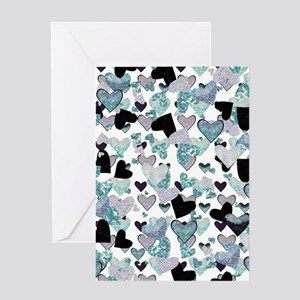 Teal Glitter Hearts Greeting Card