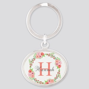 Watercolor Floral Wreath Monogram Keychains