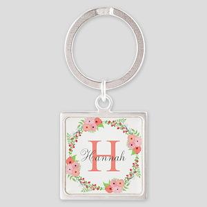 Watercolor Floral Wreath Monogram Keychains