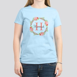 Watercolor Floral Wreath Monogram T-Shirt