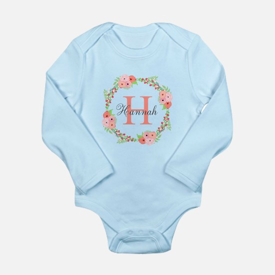 Watercolor Floral Wreath Monogram Body Suit