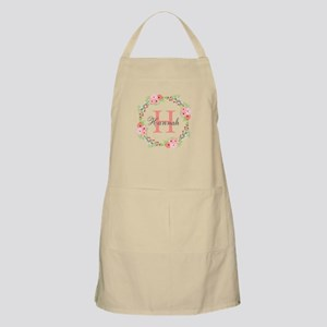 Watercolor Floral Wreath Monogram Apron
