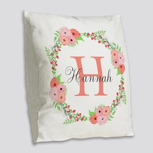 Watercolor Floral Wreath Monogram Burlap Throw Pil