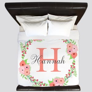 Watercolor Floral Wreath Monogram King Duvet