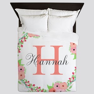 Watercolor Floral Wreath Monogram Queen Duvet