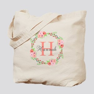 Watercolor Floral Wreath Monogram Tote Bag