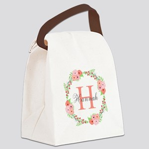Watercolor Floral Wreath Monogram Canvas Lunch Bag