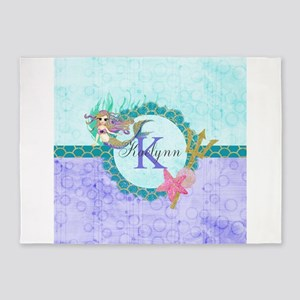 Personalized Monogram Mermaid 5'x7'Area Rug