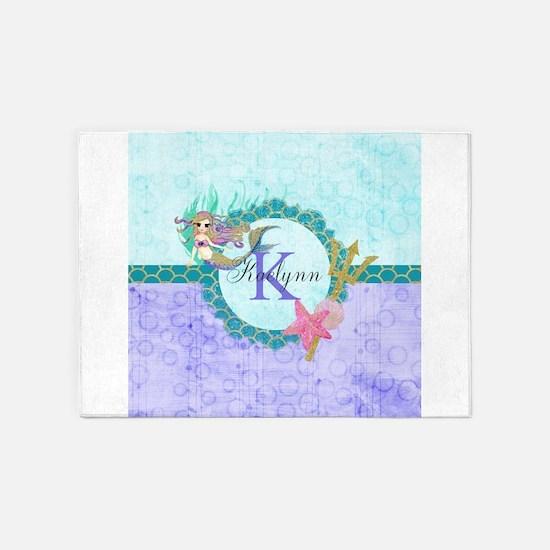 Personalized Monogram Mermaid 5'x7'Area Rug