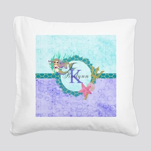 Personalized Monogram Mermaid Square Canvas Pillow