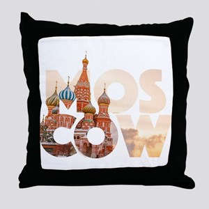Russia Moscow Typography Throw Pillow