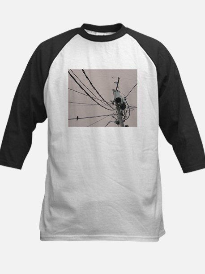 lone bird on a wire Baseball Jersey