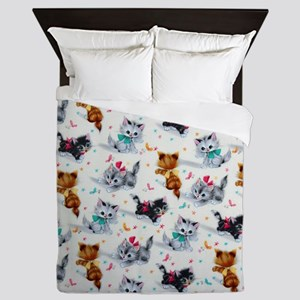 Cute Playful Kittens Queen Duvet
