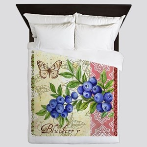 FRENCH MODERN BUTTERFLY AND BLUEBERRY Queen Duvet