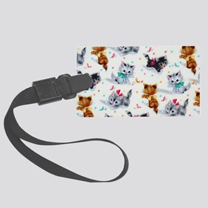 Cute Playful Kittens Large Luggage Tag