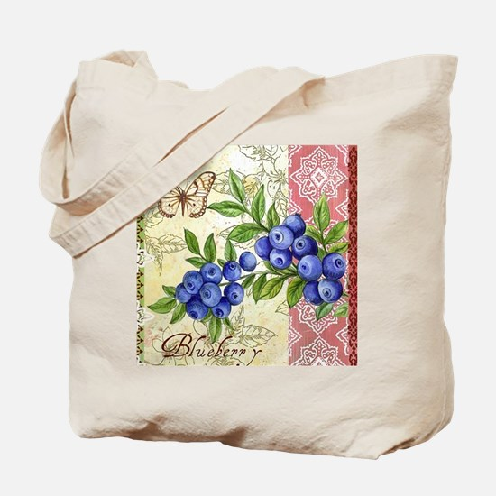 FRENCH MODERN BUTTERFLY AND BLUEBERRY Tote Bag
