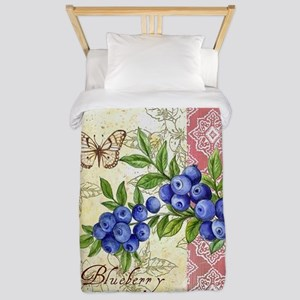 FRENCH MODERN BUTTERFLY AND BLUEBERRY Twin Duvet