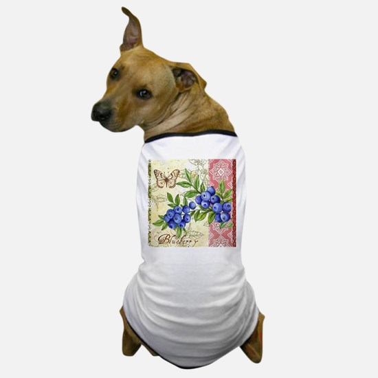 FRENCH MODERN BUTTERFLY AND BLUEBERRY Dog T-Shirt