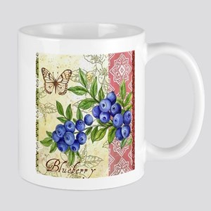 FRENCH MODERN BUTTERFLY AND BLUEBERRY Mugs
