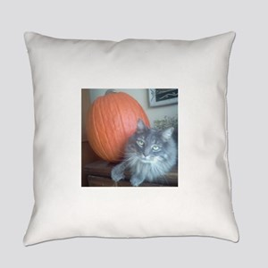 Pumpkin and Kitty Everyday Pillow