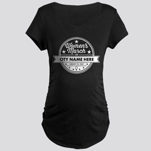 Womens March Personalized Maternity Dark T-Shirt