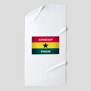 African Pride Ghana Flag Beach Towel