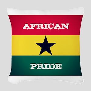 African Pride Ghana Flag Woven Throw Pillow