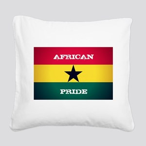 African Pride Ghana Flag Square Canvas Pillow