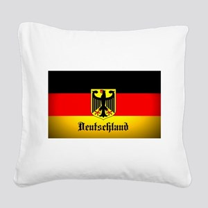 Deutschland Flag Coat of Arms Square Canvas Pillow