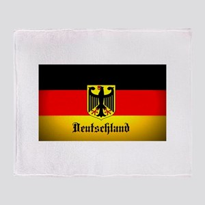 Deutschland Flag Coat of Arms Throw Blanket