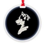 Husky Puppy Round Ornament