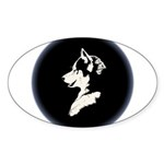 Husky Puppy Sticker (Oval 50 pk)