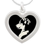 Husky Puppy Silver Heart Necklace