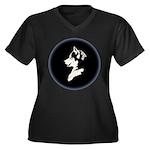 Husky Puppy Women's Plus Size V-Neck Dark T-Shirt