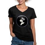 Husky Puppy Women's V-Neck Dark T-Shirt