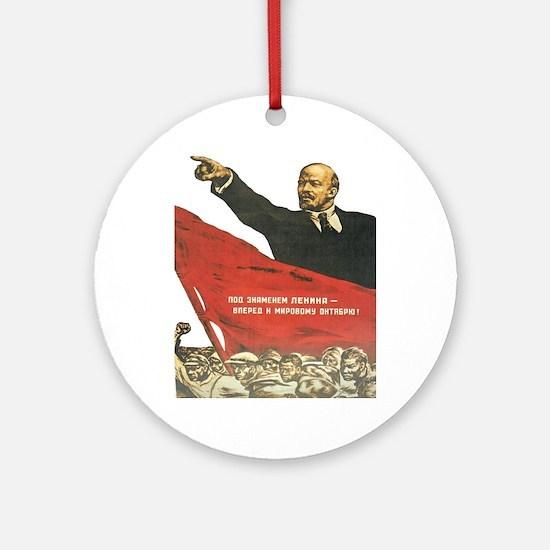Vladimir Lenin soviet propaganda Round Ornament
